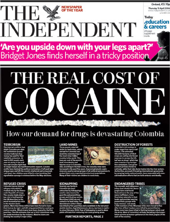 The real cost of Cocaine. Article on The Independent